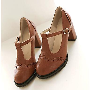 Verano Tacones Negro Cuadrado 06775087 Tacón Zapatos redondo Mary Gris Amarillo PU Mujer Dedo Hebilla Jane PwUSEq6XUx