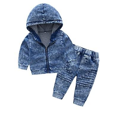 billige Sett med Drenge babyklær-Baby Drenge Basale Daglig Ensfarvet Langærmet Normal Bomuld Tøjsæt Blå