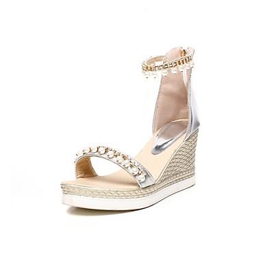 Or Polyuréthane Argent Sandales Hauteur été compensée de Chaussures Confort Blanc 06840567 semelle Femme Printemps 5wTqxf7va