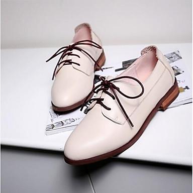 Chaussures Talon 06832964 Cuir Amande Oxfords Femme Plat Printemps Nappa Confort Bout Eté fermé pf0Hq0g
