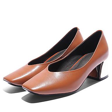 Žene Cipele Mekana koža Ljeto Obične salonke Cipele na petu Kockasta potpetica Trg Toe Crn / Žutomrk