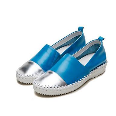 Bleu Femme et Mocassins Bout Fuchsia Plat Chaussons 06795862 Talon Confort Eté Cuir Nappa rond D6148 Chaussures r6qpwB64