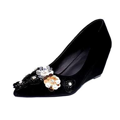 Femme Escarpin Daim Hauteur Talons Noir de Rose à Chaussures 06862077 Printemps compensée Chaussures Basique semelle rqt0x8U5rw