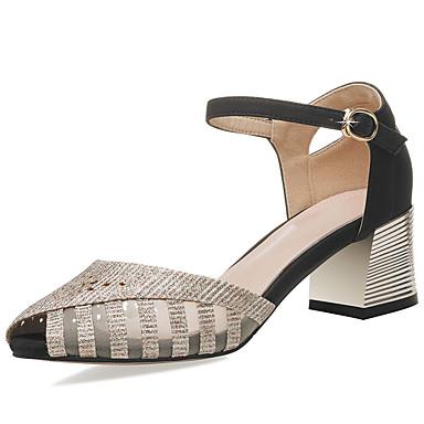 Matière Eté Chaussures Noir Or Bottier Pièces D'Orsay Femme amp; Deux Talon 06855526 synthétique Sandales xn1ppFwT