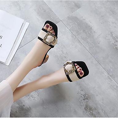 Sintéticos Mujer Negro Almendra 06848821 Rosa Sandalias Cuadrado Zapatos Primavera Confort Tacón wwC1qT5