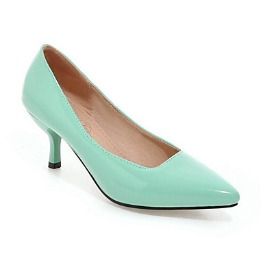 Zapatos Cuero Confort Verde Tacones Patentado Primavera Stiletto Tacón Almendra Mujer 06856809 Azul 6dxwqHd