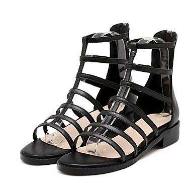 Sandales Noir Cuir Chaussures Nappa Plat été Printemps 06850211 Femme Talon Confort SYq1TF
