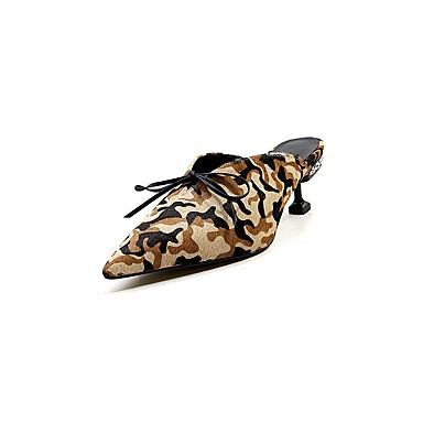 06858342 Talon Léopard amp; Mules été Crin Printemps Femme Chaussures Noir Confort Sabot Bobine de Cheval qO8w6Zv