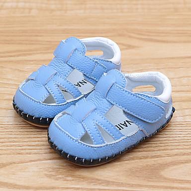 Chlapecké   Dívčí Boty Kůže Léto První botičky Sandály Kouzelná páska pro  Děti Bílá   Modrá 970dadf1a7