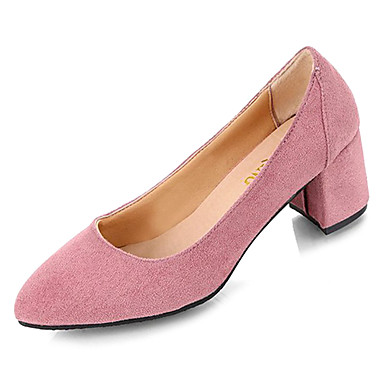 47f4aa2f776 Women s Suede Summer Basic Pump Heels Chunky Heel Pointed Toe Feather Black    Pink   Daily