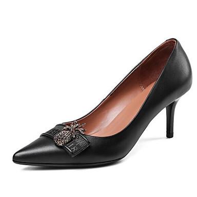 Women's Fall Comfort Shoes Nappa Leather Fall Women's Heels Stiletto Heel Black / Blue ee17e1