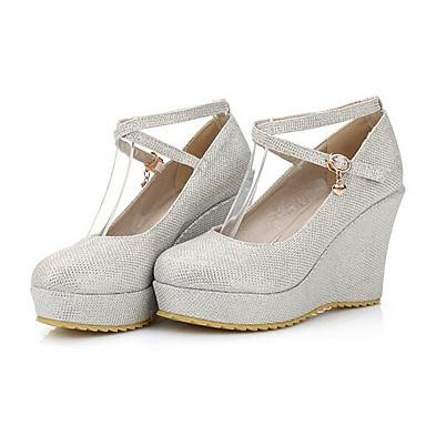voordelige Dameshakken-Dames Hoge hakken Comfort schoenen Sleehak Denim / Nappaleer Herfst Wit / Zwart / Rood / Dagelijks