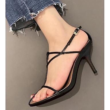 Eté Femme Vin Confort Cuir Nappa Chaussures 06855913 Blanc Talon Sandales Aiguille Noir qCrCZtw
