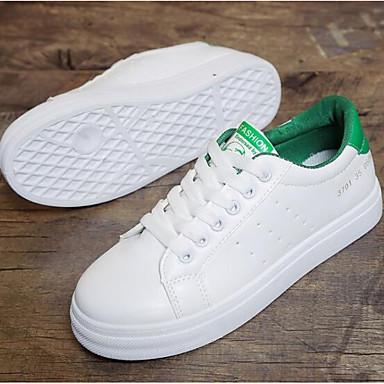 Primavera Confort Blanco Negro 06846220 Verde de Zapatillas Punta cerrada deporte Mujer Tacón PU Verano Zapatos Plano 4AgqE
