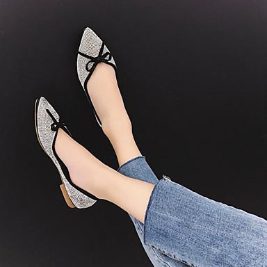 Negro Puntiagudo Bailarinas Tacón Zapatos Plateado Mujer 06846248 Rojo Confort Pajarita Verano PU Dedo Plano fvwqZT