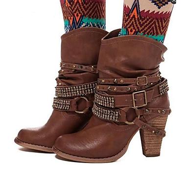 dd199f09ede7 Dame Fashion Boots PU Efterår vinter Støvler Kraftige Hæle Spidstå  Støvletter Bjergkrystal   Nitte   Spænde Kaffe   Brun   Kakifarvet