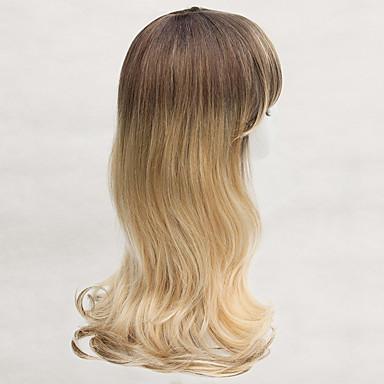 저렴한 가발 & 헤어 연장-인간의 머리카락없는 Capless 가발 인모 요동하는 뱅포함 스타일 사이드 파트 긴 가발 여성용