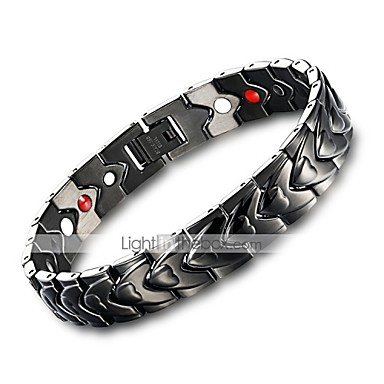 Men S Vintage Style Clic Chain Bracelet Hologram Stainless Creative Punk Black