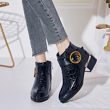 Bottes Botillons Chaussures Vin pointu hiver Polyuréthane Bottine Boucle Bout Confort 06863734 Heel Automne Bleu Demi Noir Femme Botte Block YwCXdC