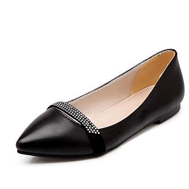 Confort Primavera Plano Zapatos Beige Negro PU Tacón Mujer 06855664 Bailarinas Rosa qw1tdfYExR