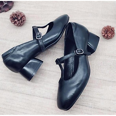 Women's Comfort Shoes Nappa Leather Fall Heels Heels Heels Chunky Heel Black / Brown 1e3e49