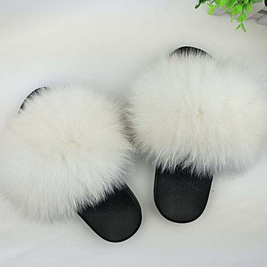 cheap Home Textiles-Women's Slippers House Slippers Ordinary Fox Fur solid color Shoes