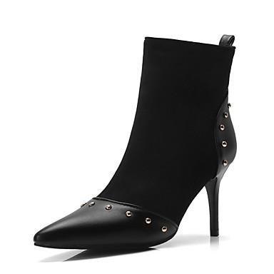 Noir Aiguille 06856551 la Polyuréthane Bottine Bottes Automne Mode à Femme Bottes pointu Demi Chaussures Léopard Botte Bout Talon hiver aYvOpU