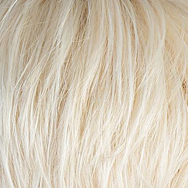 저렴한 가발 & 헤어 연장-인간의 머리카락없는 Capless 가발 인모 직진 레이어드 헤어컷 / 짧은 머리 형 2019 년 스타일 어두운 뿌리 / 강타와 함께 실버 / 블랙 / 블론드 짧음 캡 없음 가발 여성용 / 브라운 / 라일락 핑크 / 스트레이트