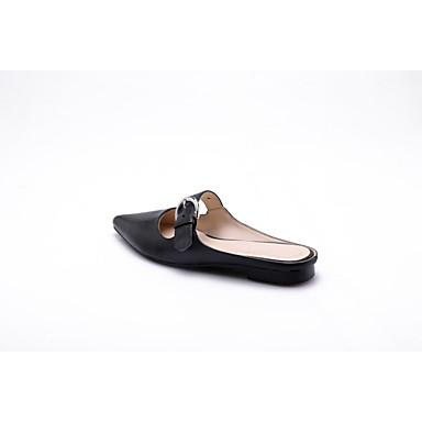 Talon Printemps Cuir Mules été Nappa Plat Femme Noir 06845239 Blanc Sabot amp; Chaussures Confort ZAxqyz