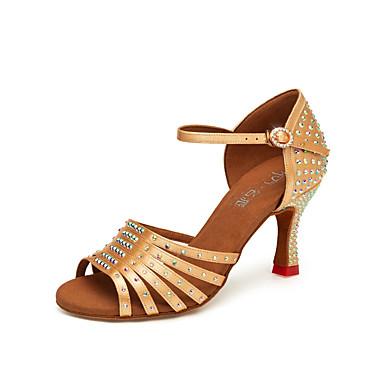 Femme Chaussures Latines Latines Latines Satin Talon Talon Cubain Chaussures de danse Noir / Jaune / Marron 392982