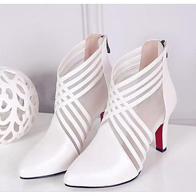à Chaussures Talon Cuir 06849220 la Nappa Printemps Femme Noir Bottes Mode Aiguille Bottes Confort Blanc AUYHpqBnW