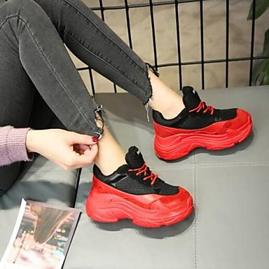 Printemps Nappa Basket Daim Chaussures 06856614 Plat Rouge Noir Confort fermé Bout Cuir Eté Femme Talon tRaIHWwq4q