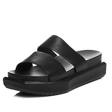 Blanc Sandales Chaussures Nappa Noir Confort Talon 06857420 Eté Plat Cuir Femme WT7wqpZx8w