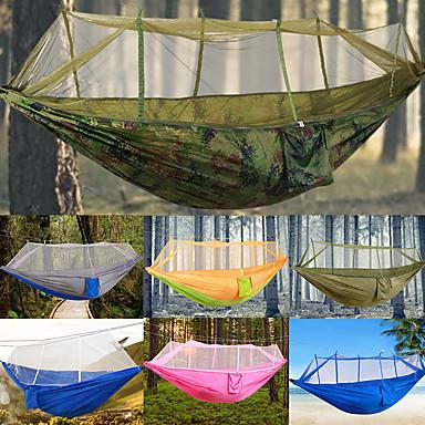 Campinghängematte mit Moskitonetz Außen Tragbar, Leicht, Feuchtigkeitsundurchlässig Nylon für Jagd / Wandern / Camping - 2 Personen Grün / gelb / Silber + blau / Camouflage