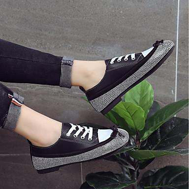 de Tacón 06848203 redondo Blanco Zapatos Negro Pedrería deporte Plano Dedo Confort Mujer Verano Zapatillas Tela 6pwq0X0T