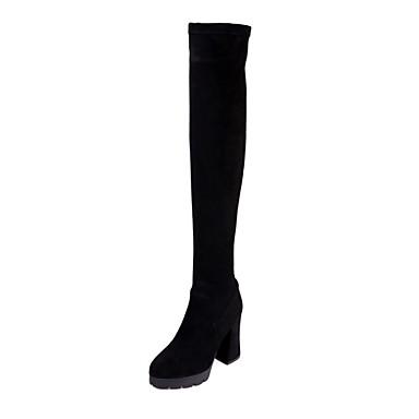 hiver Bottes Bottier 06857252 Automne Talon Femme Chaussures Daim Confort Noir pxfAqBBtw