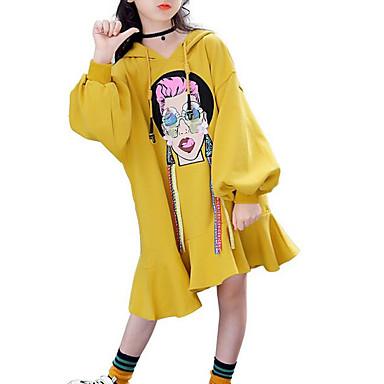baratos Vestidos para Meninas-Infantil Para Meninas Activo Geométrica Manga Longa Vestido Verde