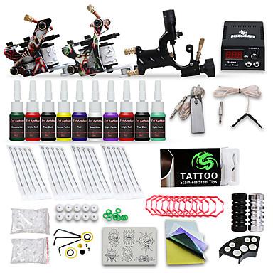 DRAGONHAWK Machine à tatouer Kit pour débutant - 3 pcs Machines de tatouage avec 10 x 5 ml encres de tatouage, Niveau professionnel, Tension Réglable, Facile à installer Alliage LCD alimentation Case