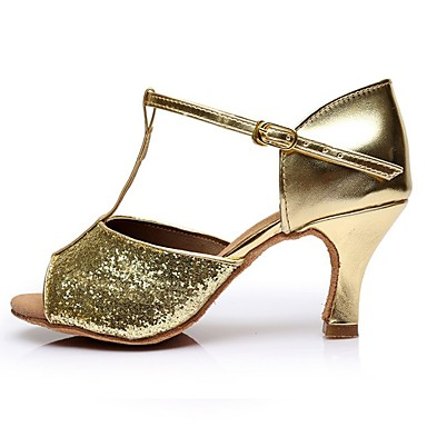 Women's Latin Shoes Patent Leather Sandal High / Heel Splicing Slim High Sandal Heel Customizable Dance Shoes Gold 568523