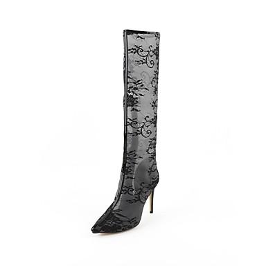 été Printemps Chaussures 06849421 Noir Maille Confort Bottes Talon Femme Aiguille 1fEtxqwnd