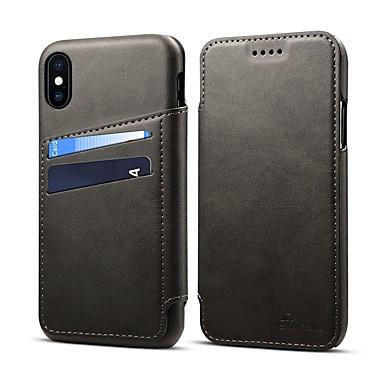 hesapli iPhone Kılıfları-Pouzdro Uyumluluk Apple iPhone XS / iPhone XR / iPhone XS Max Kart Tutucu / Satandlı Tam Kaplama Kılıf Solid Sert PU Deri