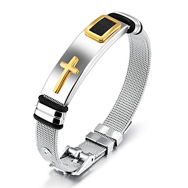 cheap Religious Jewelry-Men's Classic Stylish Chain Bracelet Bracelet Bangles Cuff Bracelet 18K Gold Plated Steel Stainless Cross Creative Statement Fashion Elegant Bracelet Jewelry Gold / Black For Daily Office & Career