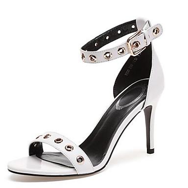 Nappa Cuir 06848323 Aiguille Confort Femme Noir Chaussures Sandales Blanc Eté Talon 5vAEwn74