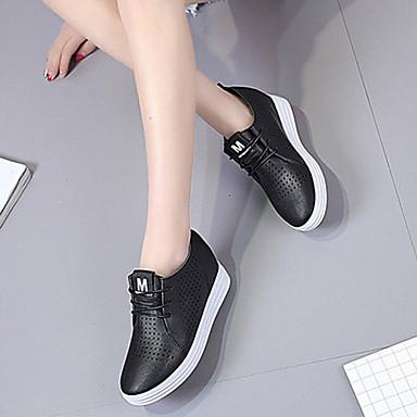 Lazo PU Negro 06855813 Dedo Tacón de Zapatillas Con deporte Mujer Zapatos Blanco Verano redondo Plano qwOZ5Iw4H