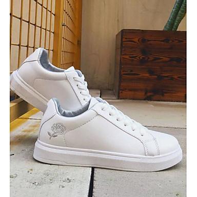 argent blanc Talon Automne Chaussures Femme Noir Basket amp; et Blanc Plat Polyuréthane Printemps de blanc 06869648 confort Rose aqY8fq7