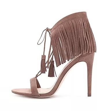 Chaussures Confort Talon été Café Femme Aiguille 06841076 Sandales Daim Printemps FIAIxB