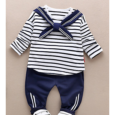 e7d9c4318026d Baby Boys' Basic Daily Striped Long Sleeve Regular Cotton Clothing Set Red  / Toddler