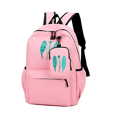 7a6422c2a6 Mulheres Bolsas Tela de pintura Mochila Escolar Ziper Preto   Rosa   Azul  Real de 6898303 2019 por  22.99