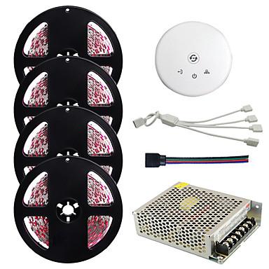 abordables Bandes Lumineuses LED-4x5M Ensemble de Luminaires / Barrette d'Eclairage RVB 300 LED 5050 SMD RVB Découpable / Connectible / Auto-Adhésives 100-240 V 4pcs