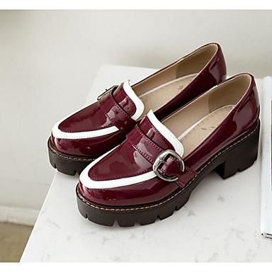 amp; Automne Chaussures Polyuréthane Chaussons Bourgogne et Printemps D6148 Talon 06849010 Blanc Femme Bottier Confort Mocassins Noir FWtTqwF4n